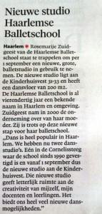 Artikel in Haarlems Dagblad over De Haarlemse Balletschool